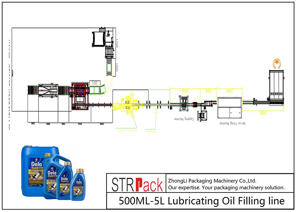 Αυτόματη γραμμή πλήρωσης λαδιού λίπανσης 500ML-5L