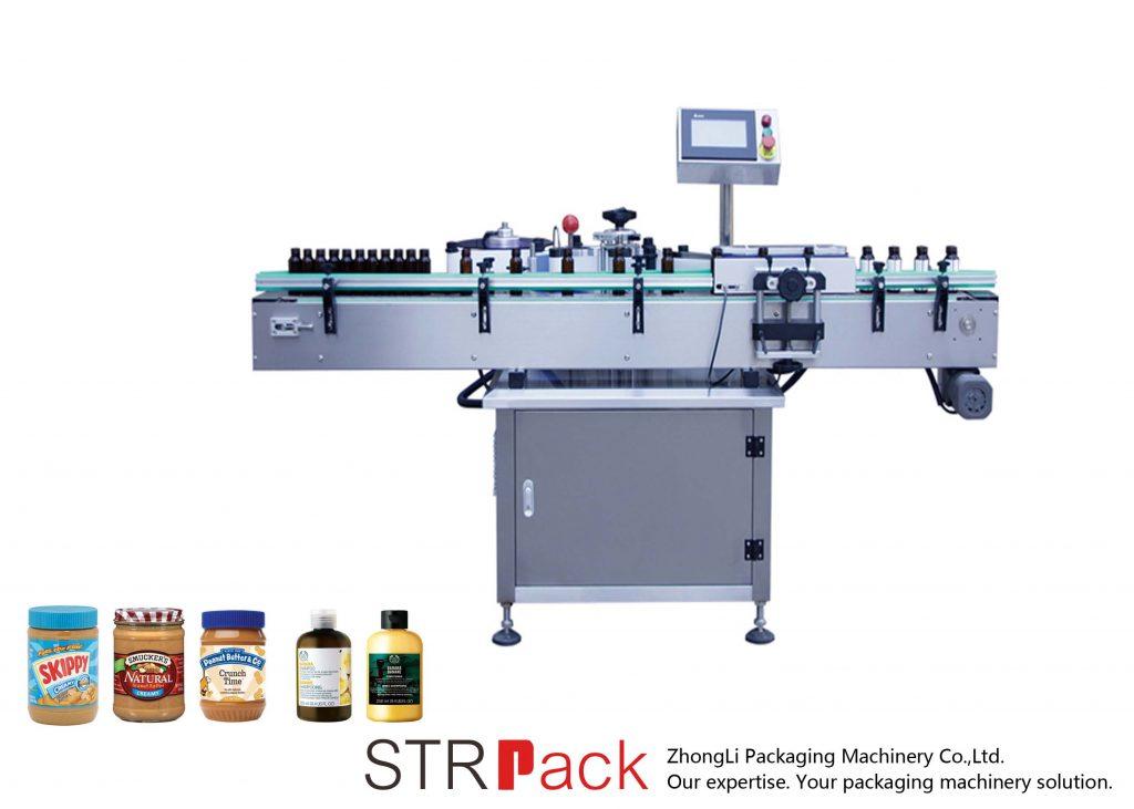 Κάθετη αυτοκόλλητη στρογγυλή μηχανή σήμανσης μπουκαλιών